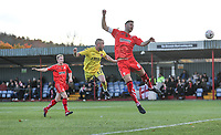 Alfreton Town's David Shiels heads away an attempt at goal into the crowd<br /> <br /> Photographer Rachel Holborn/CameraSport<br /> <br /> Emirates FA Cup First Round - Alfreton Town v Fleetwood Town - Sunday 11th November 2018 - North Street - Alfreton<br />  <br /> World Copyright &copy; 2018 CameraSport. All rights reserved. 43 Linden Ave. Countesthorpe. Leicester. England. LE8 5PG - Tel: +44 (0) 116 277 4147 - admin@camerasport.com - www.camerasport.com