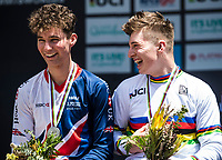 Picture by Alex Broadway/SWpix.com - 10/09/17 - Cycling - UCI 2017 Mountain Bike World Championships - Downhill - Cairns, Australia - Joe Breeden of Great Britain and Matt Walker of Great Britain on the podium after the Men's Junior Downhill Final.