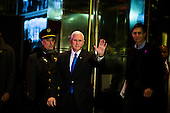 Mike Pence leaves Trump Tower with Jared Kushner in Manhattan, New York, New York, USA on Wednesday, December 7, 2016. <br /> Credit: John Taggart / Pool via CNP