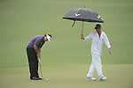 AUGUSTA, GA - APRIL 12: Phil Mickelson studies the green during the Second Round of the 2013 Masters Golf Tournament at Augusta National Golf Club on April 10in Augusta, Georgia. (Photo by Donald Miralle) *** Local Caption ***