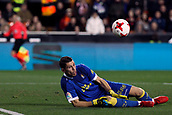 9th January 2018, Mestalla Stadium, Valencia, Spain; Copa del Rey football, round of 16, second leg, Valencia versus Las Palmas; Lizoain, goalkeeper for Las Palmas, stops a shot down low during the game