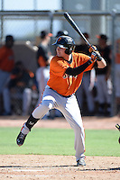 San Francisco Giants third baseman Ryder Jones (58) at bat during an instructional league game against the Oakland Athletics on September 27, 2013 at Papago Park Baseball Complex in Phoenix, Arizona.  (Mike Janes/Four Seam Images)