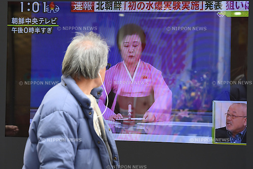 A screen in the busy Yurakucho shopping district of Tokyo, Japan displays the news that North Korea has tested a hydrogen bomb on January 6th, 2016. North Korean media on Wednesday morning reported claims that North Korea had successfully detonated a hydrogen bomb at 10am local time. The test was also linked to an artificial earthquake of magniture 5.1 near the purported test site of Punggye-ri. (Photo by Shingo Ito/AFLO)