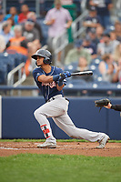 New Hampshire Fisher Cats third baseman Santiago Espinal (4) lines out during a game against the Trenton Thunder on August 19, 2018 at ARM & HAMMER Park in Trenton, New Jersey.  New Hampshire defeated Trenton 12-1.  (Mike Janes/Four Seam Images)