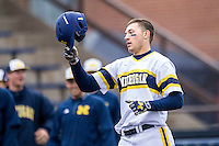 Michigan Wolverines first baseman Drew Lugbauer (17) crosses the plate after hitting a home run against the Bowling Green Falcons on April 6, 2016 at Ray Fisher Stadium in Ann Arbor, Michigan. Michigan defeated Bowling Green 5-0. (Andrew Woolley/Four Seam Images)