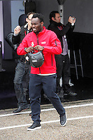 Real Madrid player Michael Essien participates and recives new Audi during the presentation of Real Madrid's new cars made by Audi at the Jarama racetrack on November 8, 2012 in Madrid, Spain.(ALTERPHOTOS/Harry S. Stamper) .<br />