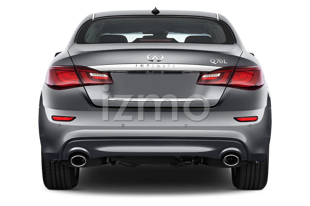 Straight rear view of a 2015 Infiniti Q70 3.7 L 4 Door Sedan Rear View  stock images