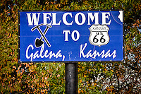 Welcome sign to Galena as you enter Kansas on Route 66.