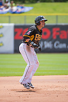 Daniel Robertson (13) of the Salt Lake Bees takes his lead off of second base against the Colorado Springs Sky Sox  at Smith's Ballpark on May 24, 2015 in Salt Lake City, Utah.  (Stephen Smith/Four Seam Images)