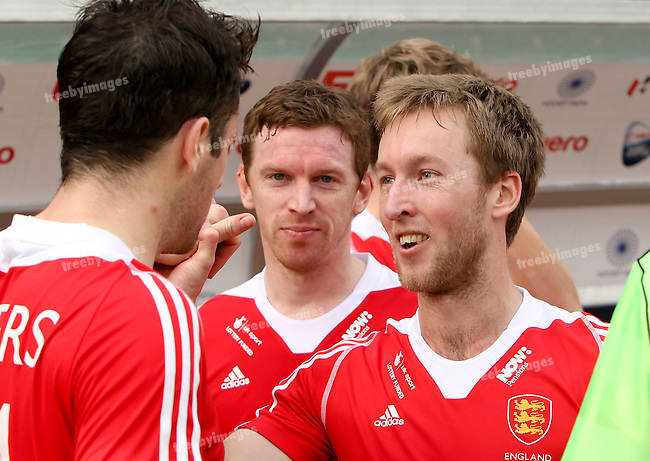 Mens Hockey World league Final Delhi 2014<br /> Day 4, 15-01-2014<br /> England v Belgium<br /> Iain Lewers and Barry Middleton<br /> Photo: Grant Treeby / treebyimages