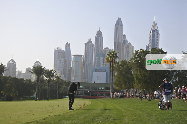Watt Wallace (ENG) on the 16th during Round 4 of the Omega Dubai Desert Classic, Emirates Golf Club, Dubai,  United Arab Emirates. 27/01/2019<br /> Picture: Golffile | Thos Caffrey<br /> <br /> <br /> All photo usage must carry mandatory copyright credit (&copy; Golffile | Thos Caffrey)