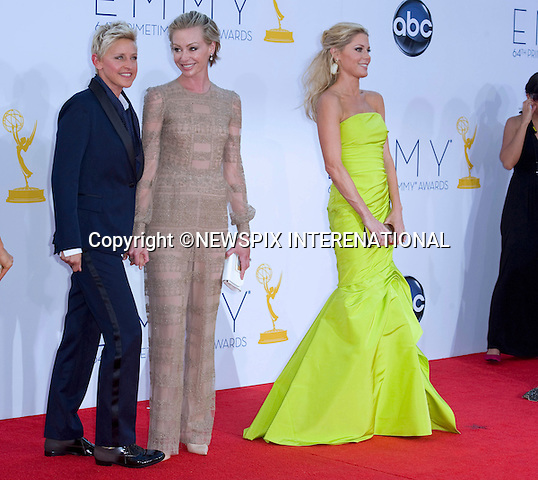 """ELLEN DEGENERES, PORTIA DI ROSSI AND JULIE BOWEN - 64TH PRIME TIME EMMY AWARDS.Nokia Theatre Live, Los Angelees_23/09/2012.Mandatory Credit Photo: ©Dias/NEWSPIX INTERNATIONAL..**ALL FEES PAYABLE TO: """"NEWSPIX INTERNATIONAL""""**..IMMEDIATE CONFIRMATION OF USAGE REQUIRED:.Newspix International, 31 Chinnery Hill, Bishop's Stortford, ENGLAND CM23 3PS.Tel:+441279 324672  ; Fax: +441279656877.Mobile:  07775681153.e-mail: info@newspixinternational.co.uk"""
