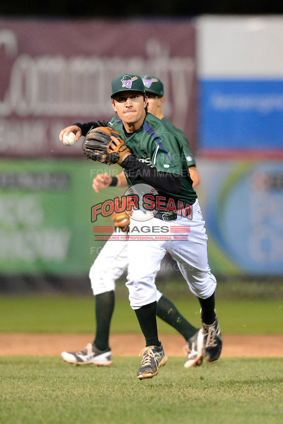 Jamestown Jammers shortstop Adam Frazier (6) throws to first during a game against the State College Spikes on September 3, 2013 at Russell Diethrick Park in Jamestown, New York.  State College defeated Jamestown 3-1.  (Mike Janes/Four Seam Images)