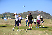 Sharon Smurfit playing with Darren Clarke (NIR) during the ProAm of the 2018 Dubai Duty Free Irish Open, Ballyliffin Golf Club, Ballyliffin, Co Donegal, Ireland.<br /> Picture: Golffile | Jenny Matthews<br /> <br /> <br /> All photo usage must carry mandatory copyright credit (&copy; Golffile | Jenny Matthews)