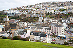 Buildings on steep hillside in the town of Ilfracombe, north Devon, England