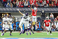 Indianapolis, IN - December 1, 2018: Ohio State Buckeyes cornerback Damon Arnette (3) intercepts a pass during the Big Ten championship game between Northwestern  and Ohio State at Lucas Oil Stadium in Indianapolis, IN.   (Photo by Elliott Brown/Media Images International)