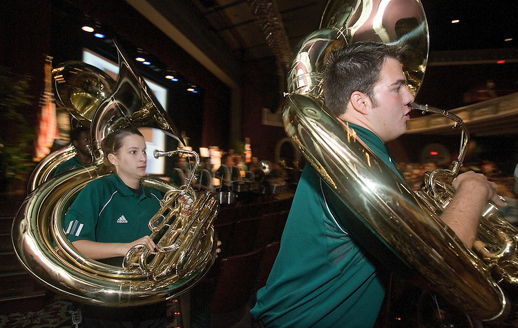 The Marching 110 perform for the close of the Scripps College of Communication Celebration.