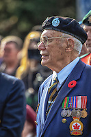 A veteran remembers during the Oakville Remembrance Day ceremonies at George's Square on November 11th, 2012