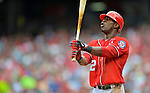 22 July 2012: Washington Nationals outfielder Roger Bernadina at bat against the Atlanta Braves at Nationals Park in Washington, DC. The Nationals defeated the Braves 9-2 to split their 4-game weekend series. Mandatory Credit: Ed Wolfstein Photo