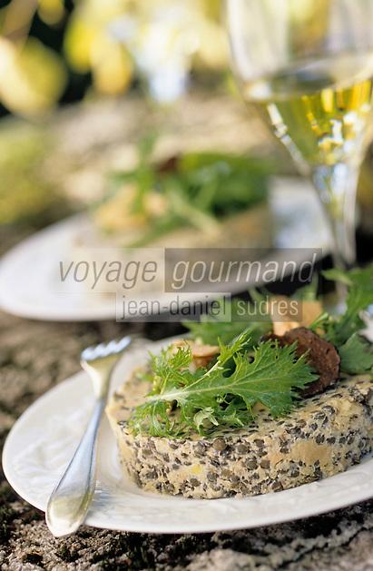 """Europe/France/Auvergne/15/Cantal/Calvinet: Salade de lentilles vertes de la planèze au foie gras et aux truffes - Recette de Louis-Bernard Puech de l'hôtel """"Beauséjour"""""""
