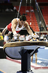 20 APR 2012: Patrick Piscitelli of the University of Oklahoma competes in the Vault during the Division I Men's Gymnastics Championship held at the Lloyd Noble Center on the University of Oklahoma campus in Norman, OK. The University of Oklahoma team finished in second place with a score of 357.45. Stephen Pingry/NCAA Photos