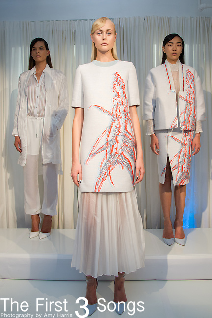 Models are seen during New York-based designer Daniel Silverstain's debut with a presentation of his Spring/Summer 2015 collection during the Mercedes-Benz Fashion Week Spring 2015 at in New York City.
