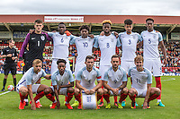 The England starting line up (back row l-r) Goalkeeper Freddie Woodman, Fikayo Tomiri, Ainsley Maitland-Niles, Joshua Onomah, Cameron Borthwick-Jackson & Reece Oxford (front row l-r) Harry Chapman, Kyle Walker-Peters, Lewis Cook, Adam Armstrong & Kieran Dowell during the International match between England U20 and Brazil U20 at the Aggborough Stadium, Kidderminster, England on 4 September 2016. Photo by Andy Rowland / PRiME Media Images.
