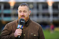 Ross Batty of Bath Rugby live on BT Sport. Aviva Premiership match, between Bath Rugby and Saracens on April 1, 2016 at the Recreation Ground in Bath, England. Photo by: Patrick Khachfe / Onside Images