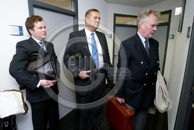 BRUSSELS - BELGIUM - 11 OCTOBER 2004 --Layer Knut ALMESTAD (R) and Ottar DALSET (M) and layer Jens Magne LANGSETH,The Norwegian Trade Association for the Coin Machine Industry (NOAF - Norsk Lotteri og Automatbransje Forbund), after their meeting with EFTA Surveillance Authority (ESA) on the Norwegian Governments plan to take control of gaming amusement machines.-- PHOTO: ERIK LUNTANG / EUP-IMAGES