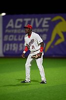 Auburn Doubledays right fielder Caldioli Sanfler (31) during a NY-Penn League game against the Connecticut Tigers on July 12, 2019 at Falcon Park in Auburn, New York.  Auburn defeated Connecticut 7-5.  (Mike Janes/Four Seam Images)