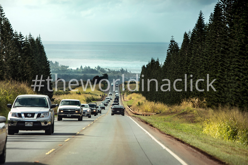 HAWAII, Oahu, North Shore, approach to the North Shore towards Haliewa on Highway 99