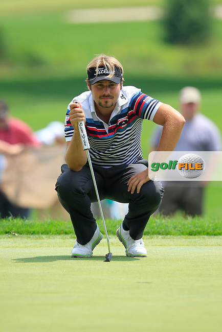 Victor DUBUISSON (FRA) on the 9th green during Sunday's Final Round to win the WGC Bridgestone Invitational, held at the Firestone Country Club, Akron, Ohio.: Picture Eoin Clarke, www.golffile.ie: 3rd August 2014