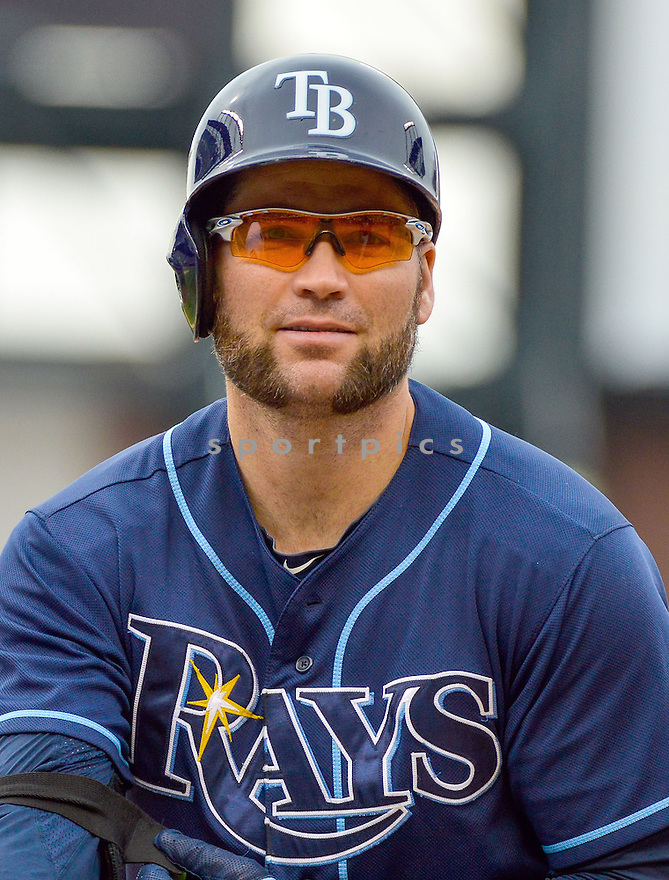Tampa Bay Rays Luke Scott (30) during a game against the Colorado Rockies on May 5, 2013 at Coors Field in Denver, CO. The Rays beat the Rockies 8-3..