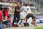 22.07.2017, Millerntor-Stadion, Hamburg, GER, FSP, FC St. Pauli vs SV Werder Bremen<br /> <br /> im Bild<br /> Olaf Janssen (Trainer FC St. Pauli) f&auml;ngt Fin Bartels (Werder Bremen #22) nach Duell / Zweikampf auf, <br /> <br /> Foto &copy; nordphoto / Ewert
