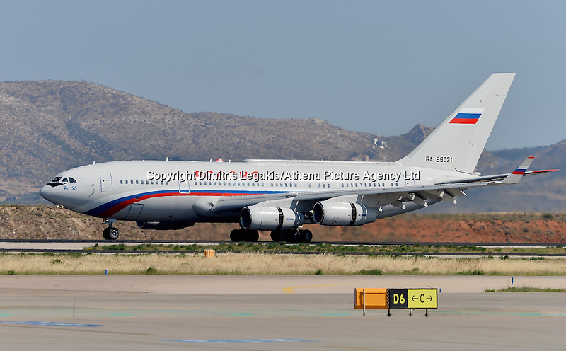 Pictured: The Russian aircraft carrying Vladimir Putin arrives to Athens Airport Friday 27 May 2016<br /> Re: Russian President Vladimir Putin arrives at Eleftherios Venizelos Airport near Athens, Greece