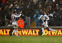 Pictured: Marc-Antoine Fortune (R) of West Bromwich celebrating his opening goal with team mate Graham Dorrans (L). Saturday, 04 February 2012<br />