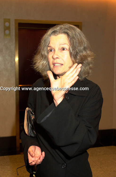Sept 2, 2002, Montreal, Quebec, Canada<br /> <br /> Genevieve Bujold,actress in Manon Briand film<br />  LA TURBULENCE DES FLUIDES<br /> ,at the closing ceremony of the 2002 Montreal World Films Festival, Sept 2 2002, in  Montreal, Quebec, Canada<br /> <br /> <br /> Mandatory Credit: Photo by Pierre Roussel- Images Distribution. (&copy;) Copyright 2002 by Pierre Roussel <br /> <br /> NOTE : <br />  Nikon D-1 jpeg opened with Qimage icc profile, saved in Adobe 1998 RGB<br /> .Uncompressed  Uncropped  Original  size  file availble on request.