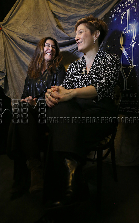 Jeanine Tesori and Lisa Kron attends the 2015 Tony Awards Meet The Nominees Press Junket at the Paramount Hotel on April 29, 2015 in New York City.