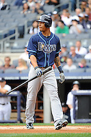 Tampa Bay Rays outfielder Desmond Jennings #8 during a game against the New York Yankees at Yankee Stadium on September 21, 2011 in Bronx, NY.  Yankees defeated Rays 4-2.  Tomasso DeRosa/Four Seam Images