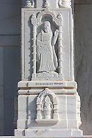 Jaipur, Rajasthan, India.  Birla Mande Temple, also known as the Laxmi Narayan Temple, a Hindu Temple dedicated to Lord Vishnu (Narayan) and his consort Lakshmi.  This statue of Jesus is on one of the outside columns.