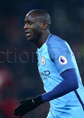 February 13th 2017, Vitality Stadium, Bournemouth, Dorset, England; EPL Premier league football, Bournemouth versus Manchester City; Yaya Toure of Manchester City moves into position for a Bournemouth goal kick