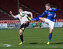 Pars' Alex Whittle and Stranraer's Willie Gibson challenge for the ball.