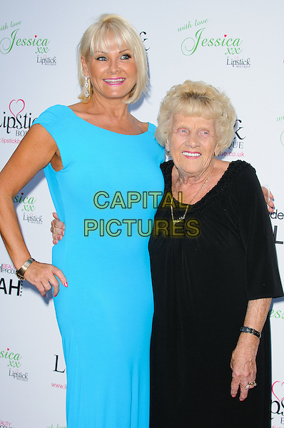 Carol Wright  & Nanny Pat ( Patricia Brooker ).Launch celebration of the new clothing line 'Lipstick Boutique' by Jessica Wright, at Soho Sanctum Hotel - Arrivals..London, England..August 21st, 2012.half length dress black blue turquoise.CAP/CJ.©Chris Joseph/Capital Pictures.