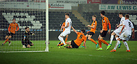 Pictured: Joe Rodon of Swansea City (C) fails to score from close range Monday 13 March 2017<br /> Re: Premier League 2, Swansea City U23 v Wolverhampton Wanderers FC at the Liberty Stadium, Swansea, UK