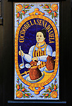 Historic ceramic tiles picture on restaurant wall, Cocido de la Sena Daniela, Plaza de Jesus, Madrid, Spain