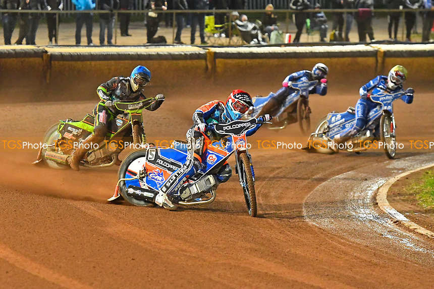 Heat 4 Brady Kurtz of Poole Pirates leads during Poole Pirates vs King's Lynn Stars, SGB Premiership Shield Speedway at The Stadium on 11th April 2019