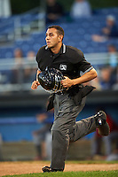 Umpire Raul Moreno during a game between the State College Spikes and Batavia Muckdogs on June 23, 2016 at Dwyer Stadium in Batavia, New York.  State College defeated Batavia 8-4.  (Mike Janes/Four Seam Images)