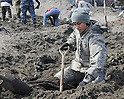 An Airman digs through a strawberry field, looking for debris April 1, 2011, in Hachinohe, Japan. (Photo by USAF/AFLO) [0006]