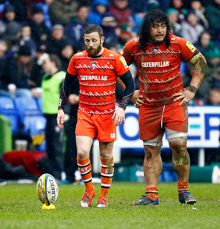 Leicester Tigers' David Mele and Logovi'i Mulipola in action during todays match<br /> <br /> Photographer Simon King/CameraSport<br /> <br /> Rugby Union - Aviva Premiership - London Irish v Leicester Tigers - Sunday 22nd February 2015 - Madejski Stadium - Reading<br /> <br /> &copy; CameraSport - 43 Linden Ave. Countesthorpe. Leicester. England. LE8 5PG - Tel: +44 (0) 116 277 4147 - admin@camerasport.com - www.camerasport.com
