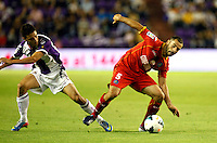 Real Valladolid´s Omar (l) and Getafe's Lacen (r) during La Liga match.August 31,2013. (ALTERPHOTOS/Victor Blanco)